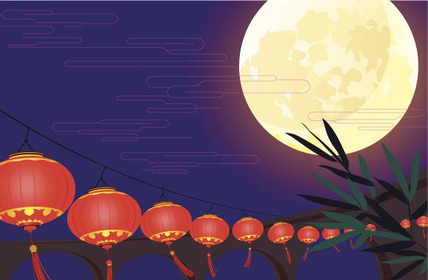 中国元宵节矢量宫灯百合