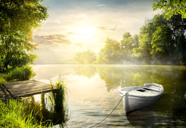 船系在河岸