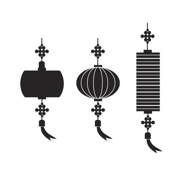 绘画插图矢量中国灯笼