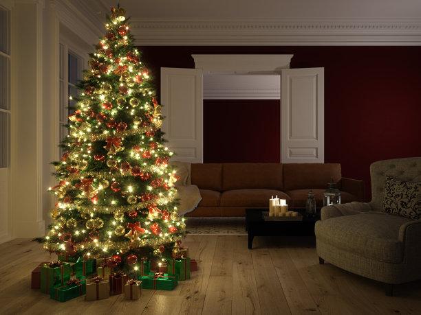 都市风光圣诞树圣诞小彩灯