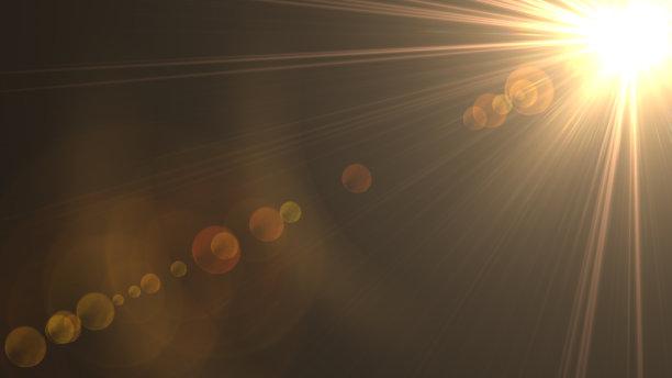 金色阳光光束