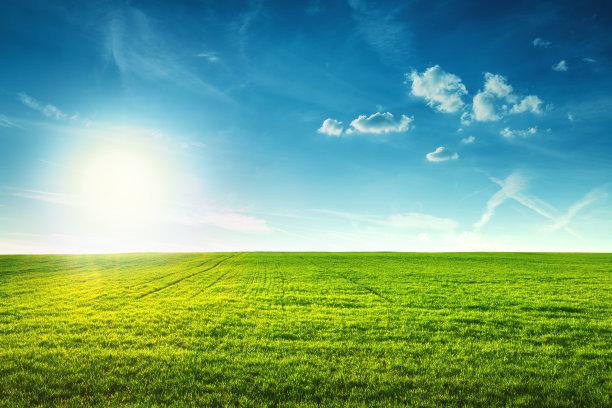 蓝天和青草地