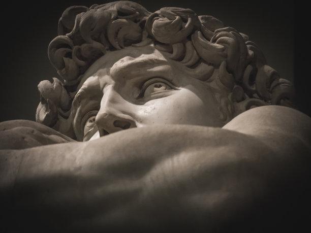 米开朗其罗的大卫人的脸部大特写