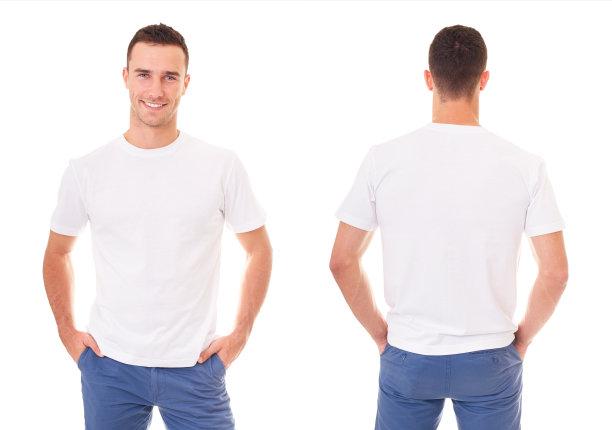 穿t恤的男人正反面