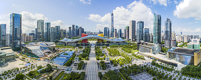 深圳航拍视角摩天大楼