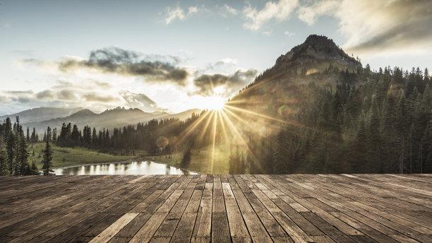 雷尼尔雪山山提普索湖