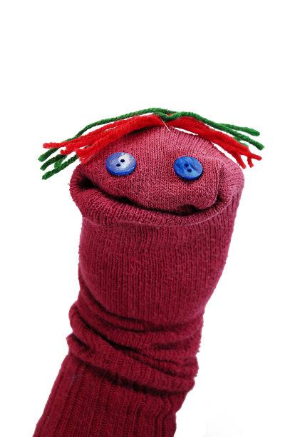 手艺红色布袋木偶