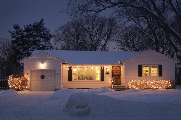 圣诞小彩灯房屋建筑外部