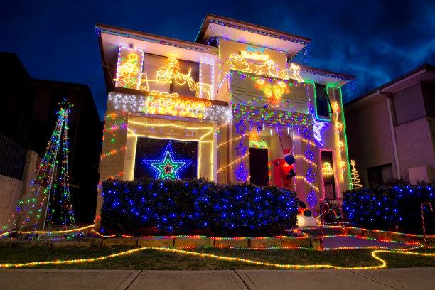 圣诞小彩灯房屋澳大利亚