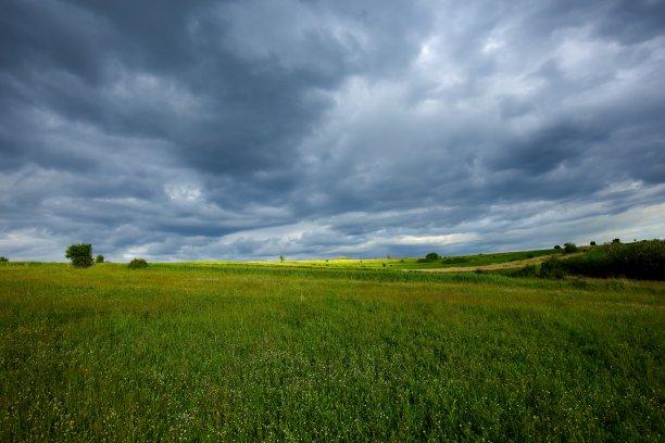 暴风雨田地在上面