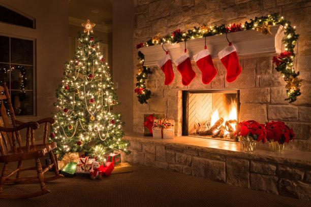 壁炉圣诞长袜热
