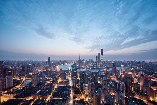 上海航拍视角夜晚