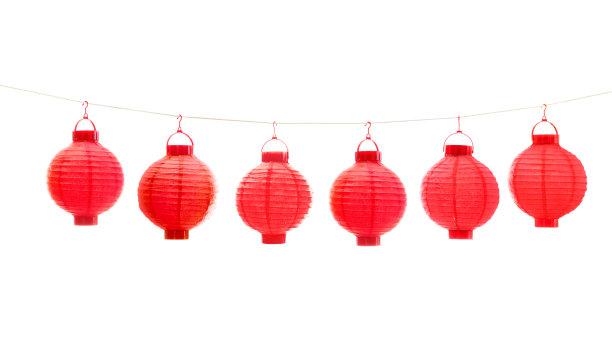 红色中国灯笼白色背景