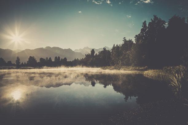 风景日出马瑟森湖