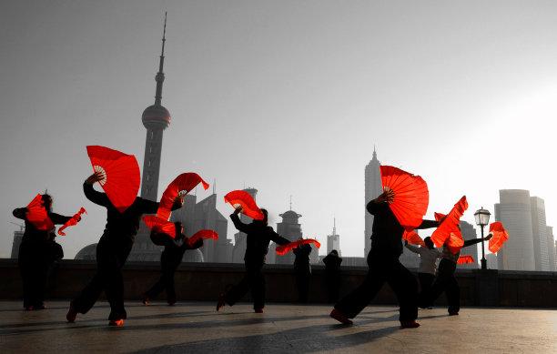 上海广场扇子舞