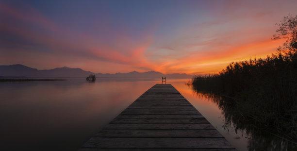 基姆湖,木制,栈桥码头