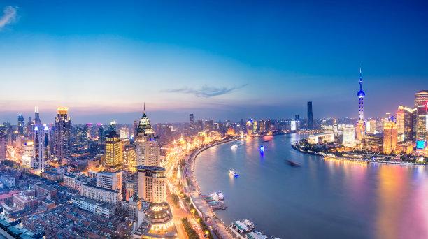 上海城市天际线夜晚