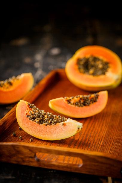 木瓜水果切片食物