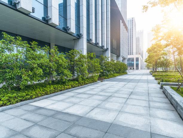 绿色办公大楼广场