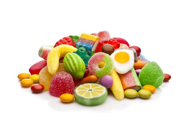 糖果堆白色背景
