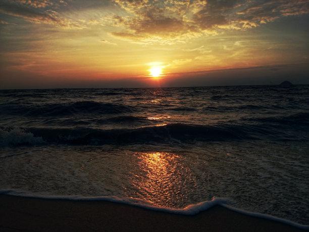 早晨,海滩,卷云