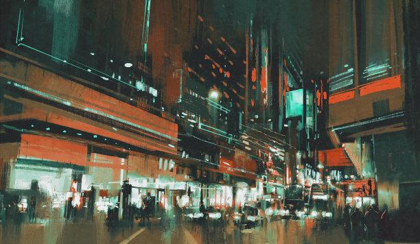 夜晚色彩鲜艳市区路
