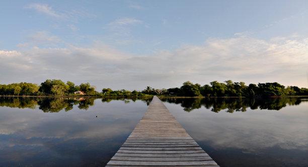 池塘,栈桥码头,横越