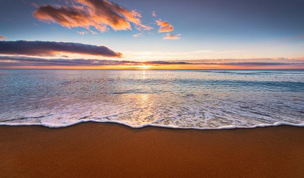 海滩,黎明,色彩鲜艳