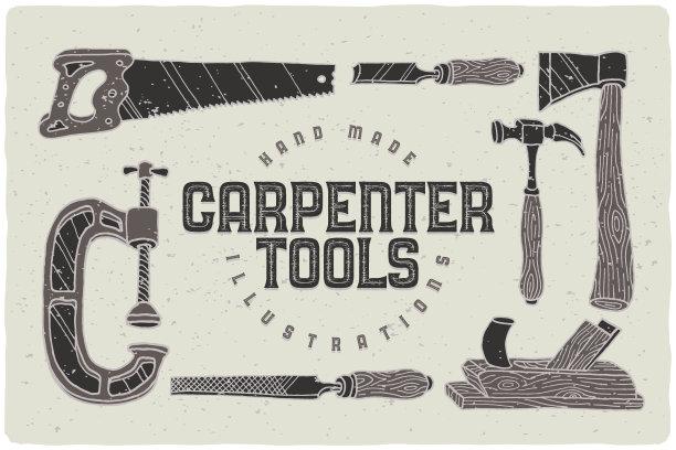 木工绘画插图设备用品