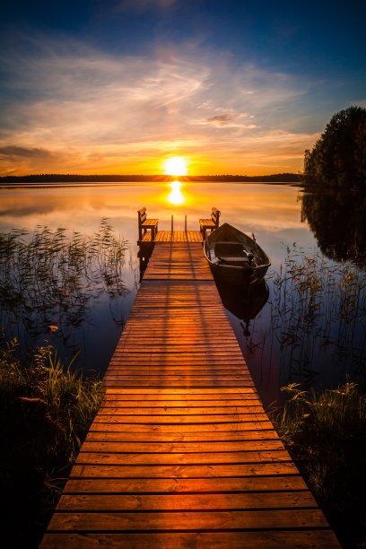 湖,码头,芬兰
