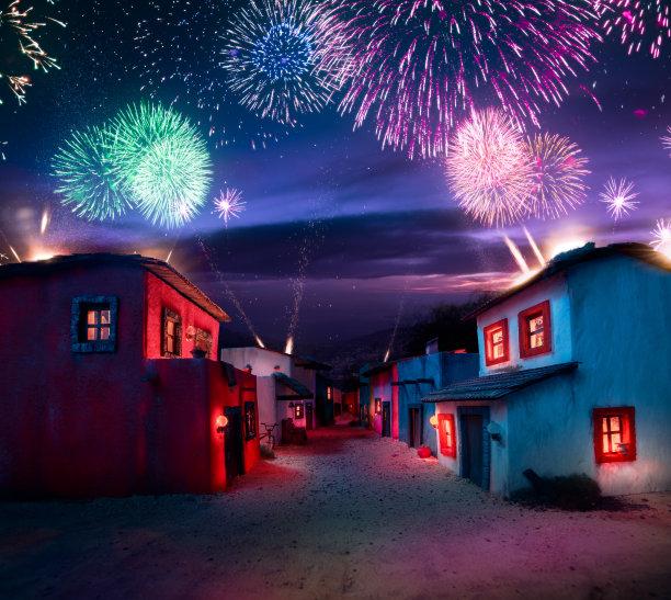 焰火乡村图片
