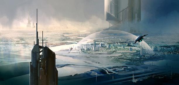 未来都市风光太空船