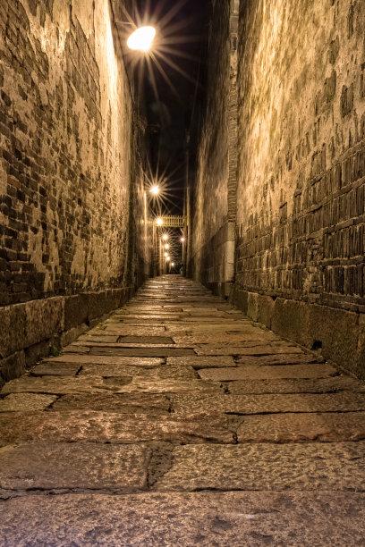 狭窄的夜晚步行道路