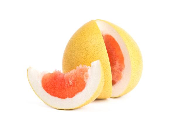柚子水果白色背景