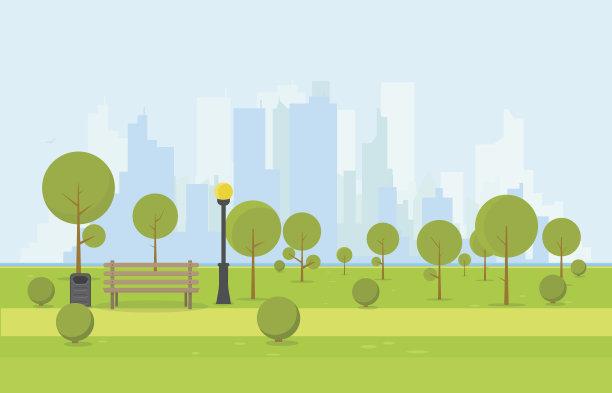 公园长椅木制市区路