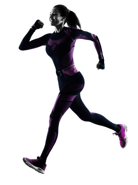 女性奔跑阴影