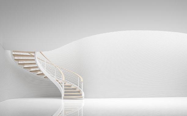 现代白色建筑内部