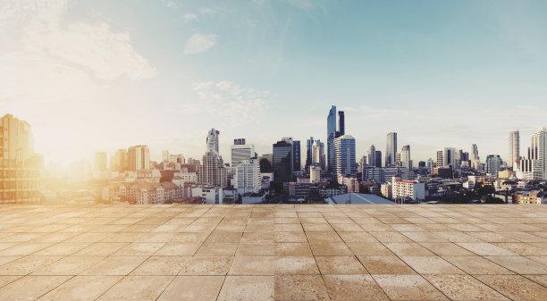 都市风景空的全景