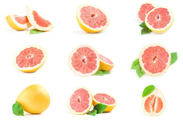 柚子白色背景抽象拼贴画