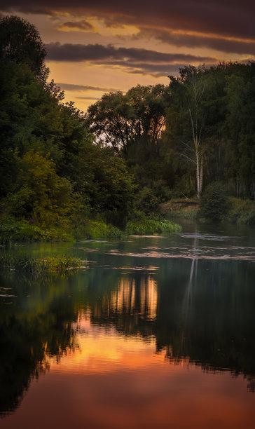 河流,夜晚,湿