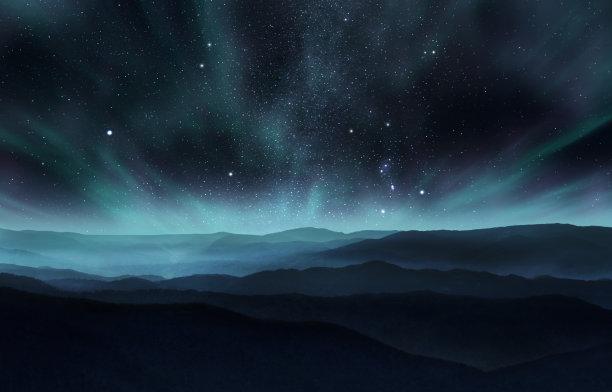 北极星北极光夜空