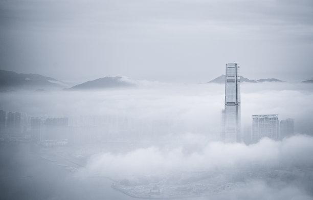 都市风景雾城市