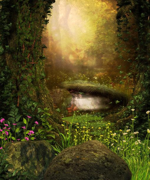 森林暗色透过其它物体观看