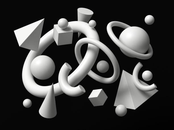 几何形状白色三维图形