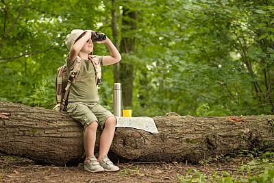 双筒望远镜树林女孩