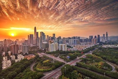 深圳城市天际线建筑外部