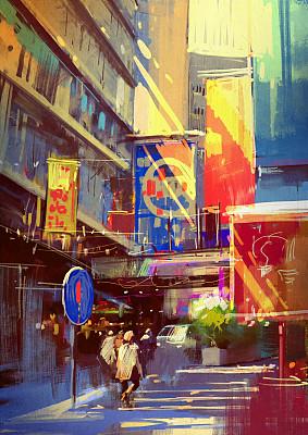 城市色彩鲜艳城市生活