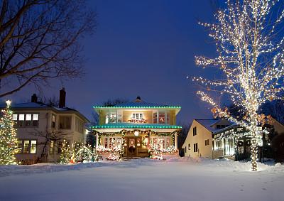 圣诞小彩灯节日华丽的