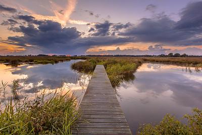 人行桥,湿地,格罗宁根省