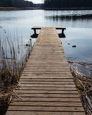 湖,云,木板路